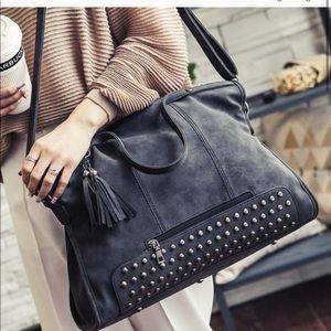Gray studded crossbody/shoulder bag